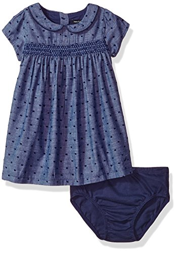 Nautica Baby Girls' Swiss Dot Dress, Chambray, 12 Months (Dresses For Women Nautica)