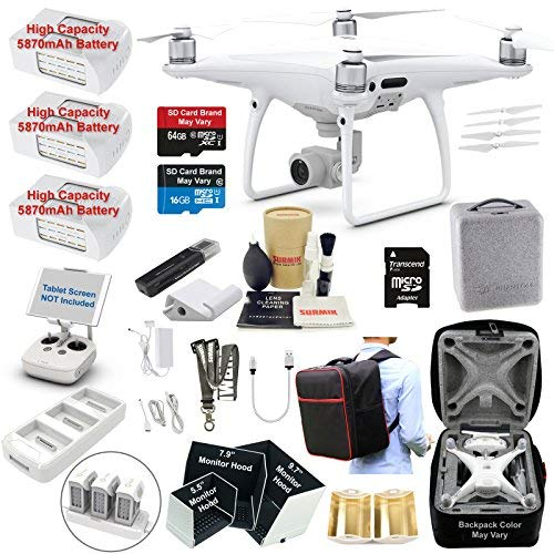 DJI Phantom 4 PRO Drone Quadcopter Bundle Kit with 3 Batteries, 4K Professional Camera Gimbal and...