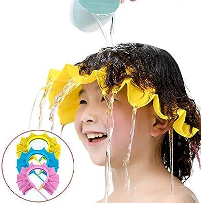 Blue /& Pink /& Yellow 3 Pack Baby Shower Cap Shampoo Cap Adjustable Visor Bathing Protection Hat Funny Safety Shield for Children Kids Toddler Infants
