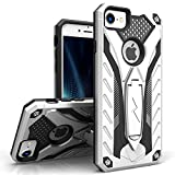 Zizo Static Series Compatible with iPhone 8 Case Military Grade Drop Tested with Built in Kickstand iPhone 7 iPhone 6 Case Silver Black