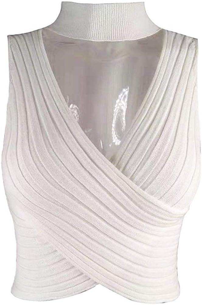 GLIENST Womens Choker V Neck Tank Top Sleeveless Cut Out Knit Cross Wrap Crop Top Vest Shirt
