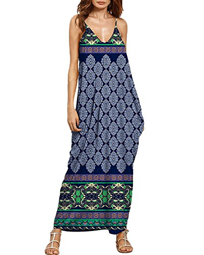 Auxo Women Maxi Dress Floral Sundress Printed V Neck Strappy Long Dresses Cover up Blue Print 2XL (California Floral Dress)