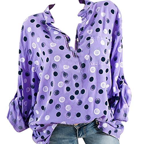Grande T Debout Violet Manches Femme Blouse Tee Taille Collier Tops LaChe Point Wave Longues LULIKA Shirt Shirt d'impression gwtqwp