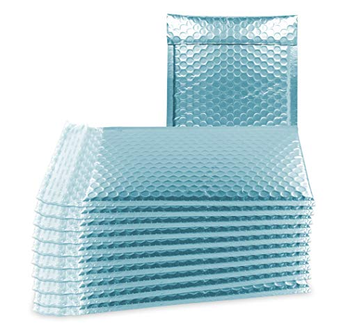 - ABC 10 Pack Ice Blue Metallic Bubble mailers 8.5 x 11. Matte Colorful Mail envelopes 8 1/2 x 11 Bubble Poly mailers Light Blue Padded Envelopes. Peel and Seal. Shipping Bags for mailing, Packing.