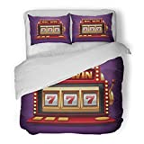 SanChic Duvet Cover Set Colorful 777 Jackpot Slot Casino Machine One Arm Bandit for Lucky Seven in Gambling Game Prize Decorative Bedding Set with 2 Pillow Shams Full/Queen Size