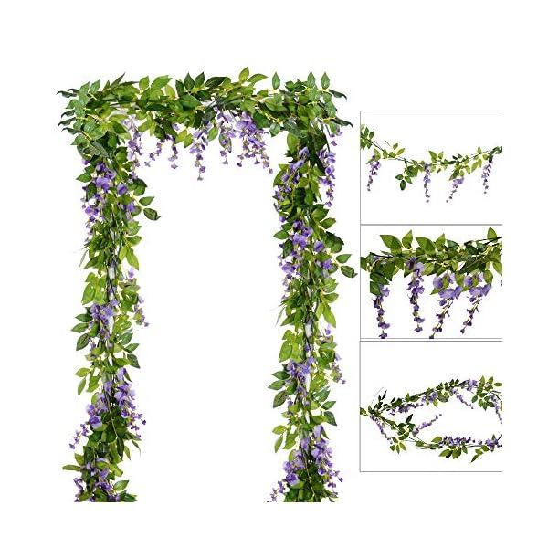 DearHouse 4Pcs 6.6Ft/Piece Artificial Flowers Silk Wisteria Garland Artificial Wisteria Vine Rattan Silk Hanging Flower for Home Garden Outdoor Ceremony Wedding Arch Floral Decor(Light Purple)