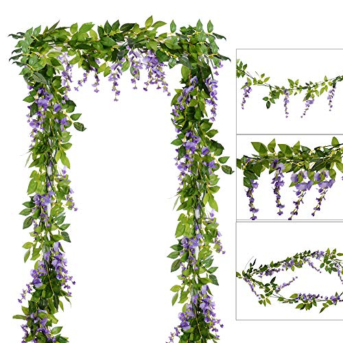 DearHouse 4Pcs 6.6Ft/Piece Artificial Flowers Silk Wisteria Garland Artificial Wisteria Vine Rattan Silk Hanging Flower for Home Garden Outdoor Ceremony Wedding Arch Floral Decor(Light Purple)
