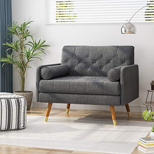 Christopher Knight Home 305843 Nour Fabric Mid-Century Modern Club Chair, Dark Gray, Natural