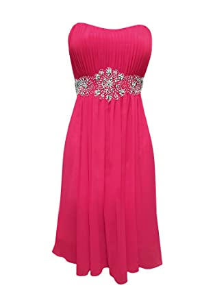 Strapless Chiffon Goddess Prom Dress Knee Length Junior Plus Size At
