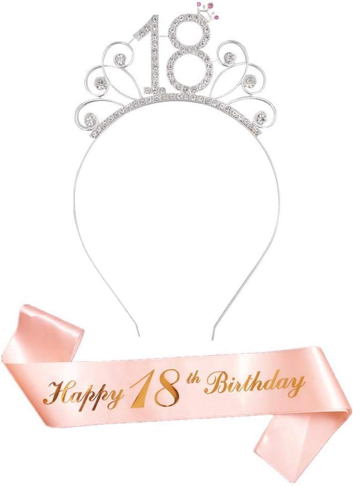 JAHEMU 18 Ans Anniversaire D/écorations Or Rose 18 th Joyeux Anniversaire Echarpe Sash et 18 Bandeaux Couronne Strass F/ête Faveur Anniversaire Accessoires Cadeau pour Femme Fille