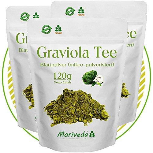 MoriVeda Graviola 360g Blattpulver Tee Sauersack Annona Muricata (3x120g Pulver)