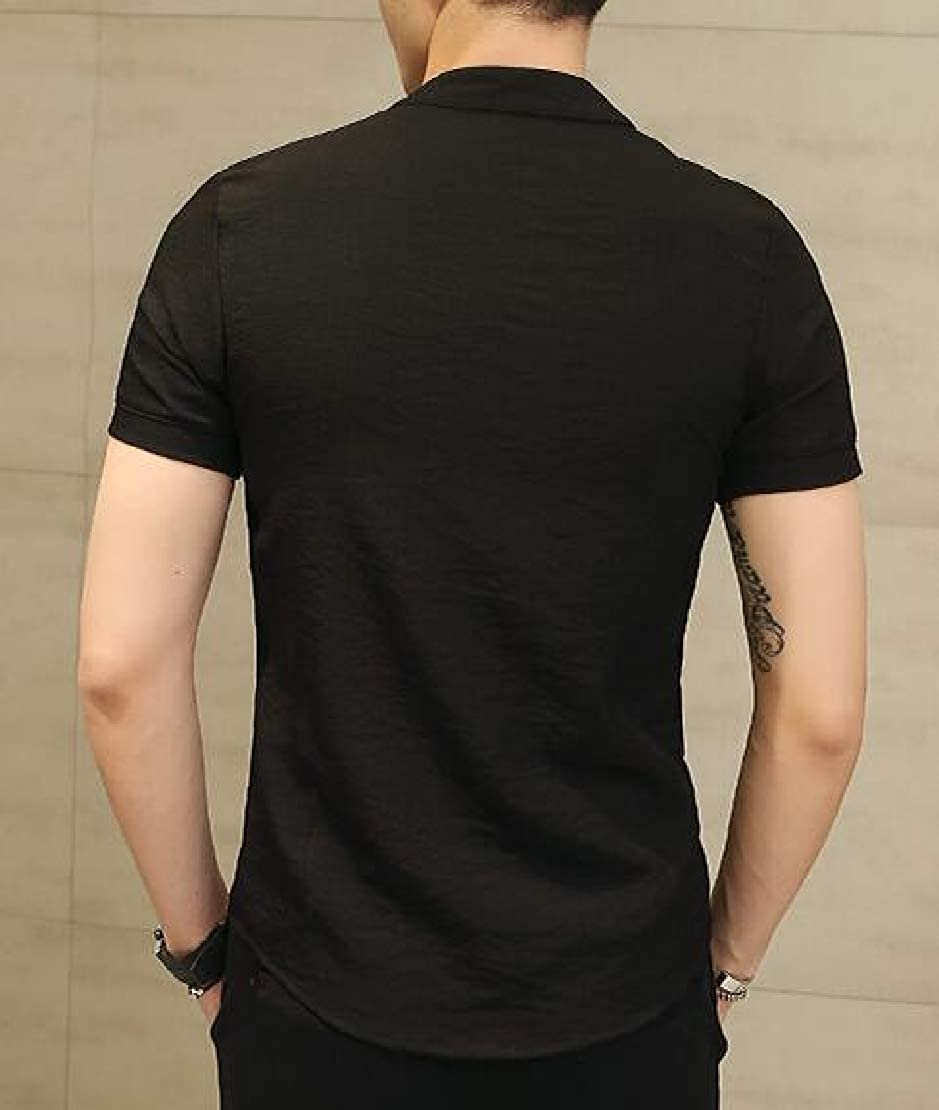 Jotebriyo Mens Slim Solid Color Casual Frog Button Chinese Style Short Sleeve Shirts