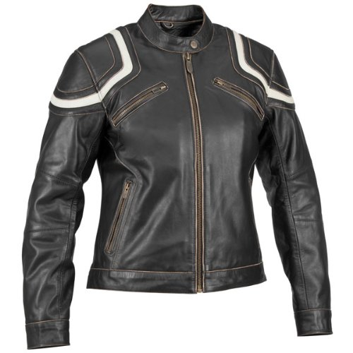 River Road Vintage Babe Womens Black Leather Jacket - Large