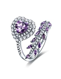 Merthus 925 Sterling Silver Created Amethyst Leaf Vine Wrap Halo Promise Engagement Ring for Women