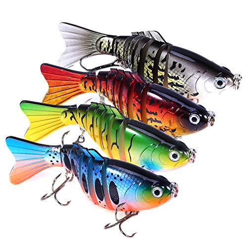 "PLUSINNO Bass Fishing Lures, Swim Baits Lures for Bass, 4""/7 Segment, Multi Jointed Swimbaits Bass Smasher 3D Eyes Slow Sinking Hard Lure Fishing Tackle Kits Lifelike Lures"