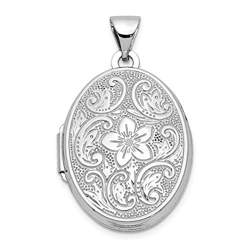 (14k White Gold 21mm Oval Floral Scroll Border Photo Pendant Charm Locket Chain Necklace That Holds Pictures Fine Jewelry Gifts For Women For Her)