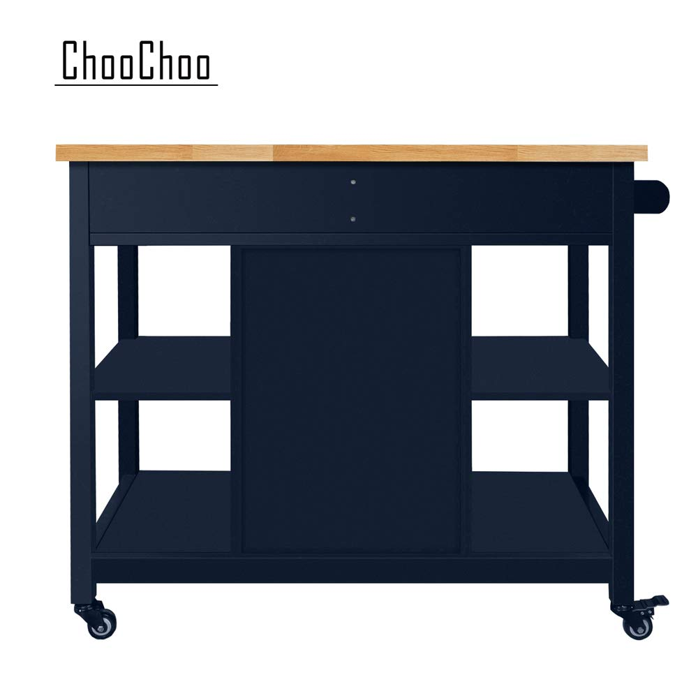 ChooChoo Kitchen Islands Cart on Wheels with Natural Rubber Wood Top, Utility Wood Kitchen Cart with Storage and Drawers, Easy Assembly - Navy Blue by ChooChoo (Image #7)