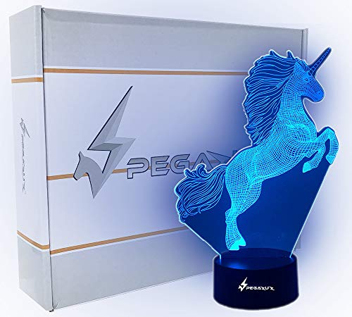 Unicorn Night Light Decor for Girls/Boys Bedroom: Kids 3D LED Lamp, Lights, and Decorations: Toddler Bedrooms Optical Illusion Nightlight with Remote Control, Decorative Lamps Toys, and Wall Lampeez