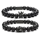 Top Plaza Aromatherapy Diffuser 8MM Natural Lava Rock Stone Beads Stretch Bracelet Couples Lover His Queen Her King Bracelets-Him and Hers