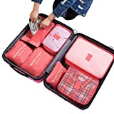 7Pcs Waterproof Travel Storage Bags Clothes Packing Cube Luggage Organizer Pouch (pale red)