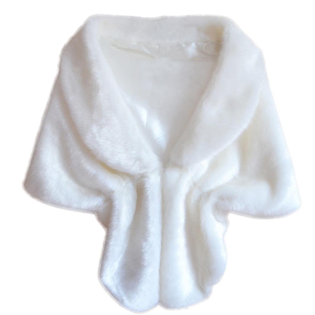 Forthery Christmas Gift, Bridal Wedding Faux Fur Long Shawl Stole Wrap Shrug Scarf (White)