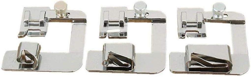 3 piezas máquina de coser prensatelas pie estrecho laminado a Hem ...