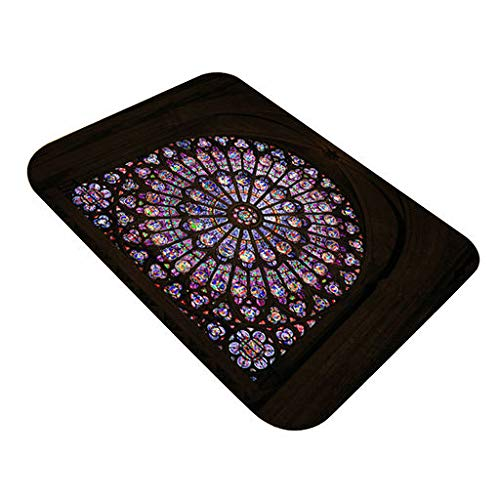 Junshion Notre Dame de Paris Pattern Square Area Rug Fleece Kitchen Bathroom 40X60CM ()