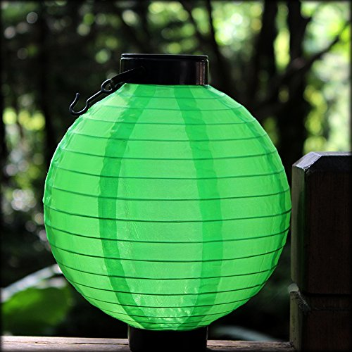 Micandle 2Pcs Chinese Lantern Outdoor LED Hanging Solar Lights,Waterproof Nylon LED Lanterns,charge 4-6 hours,can use 5-6 hours,Perfect for Christmas Home Decorate by Micandle