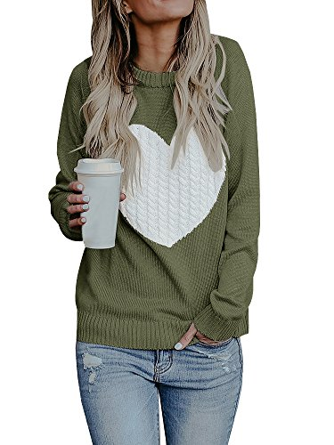 Bbalizko Womens Casual Pullover Sweater Long Sleeve Crew Neck Heart Printed Knit Sweater Tunic Tops (Medium, Amry Green)