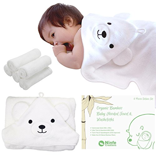 600 GSM Bamboo Baby Hooded Towel & 5 Pcs Washcloths Set - 100% Organic, Ultra-thick, Fluffy & Cozy - for Newborns, Toddlers and Kids by Ninfe Creations