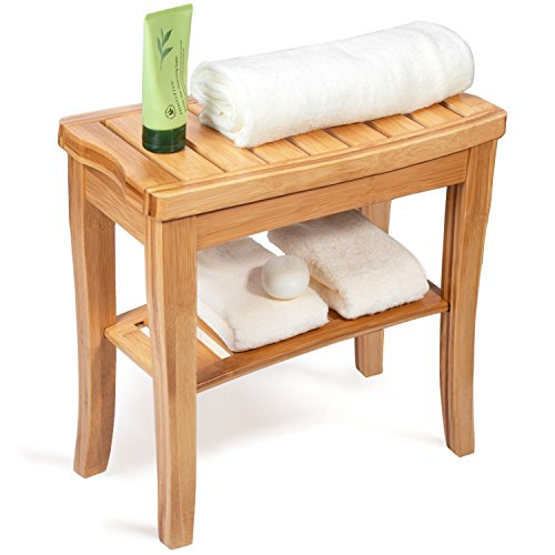 Shower Bench Seat, HBlife 100% Deluxe Indoor Outdoor Patio Garden Yard Bamboo Stool Bench with Storage Shelf Bathtub Shower Chair from HB-life