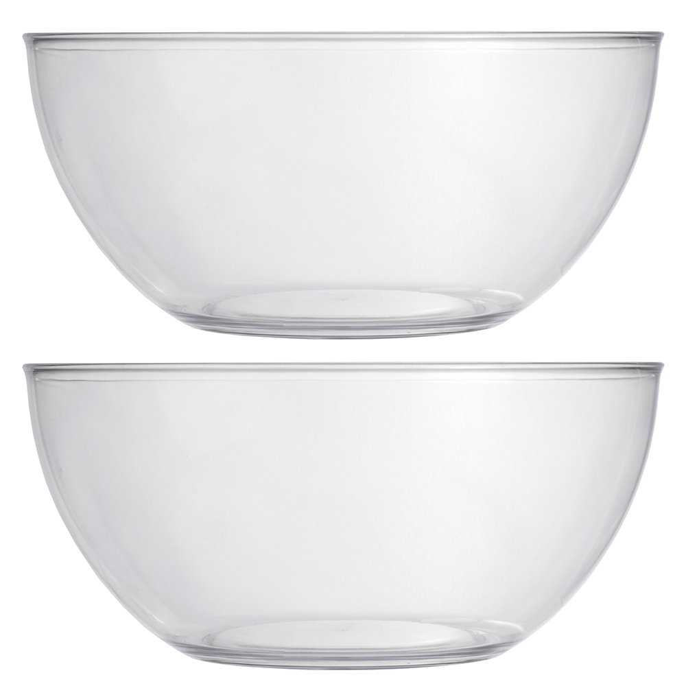 Vista 10-inch Plastic Salad and Snack Bowls | set of 2 Clear