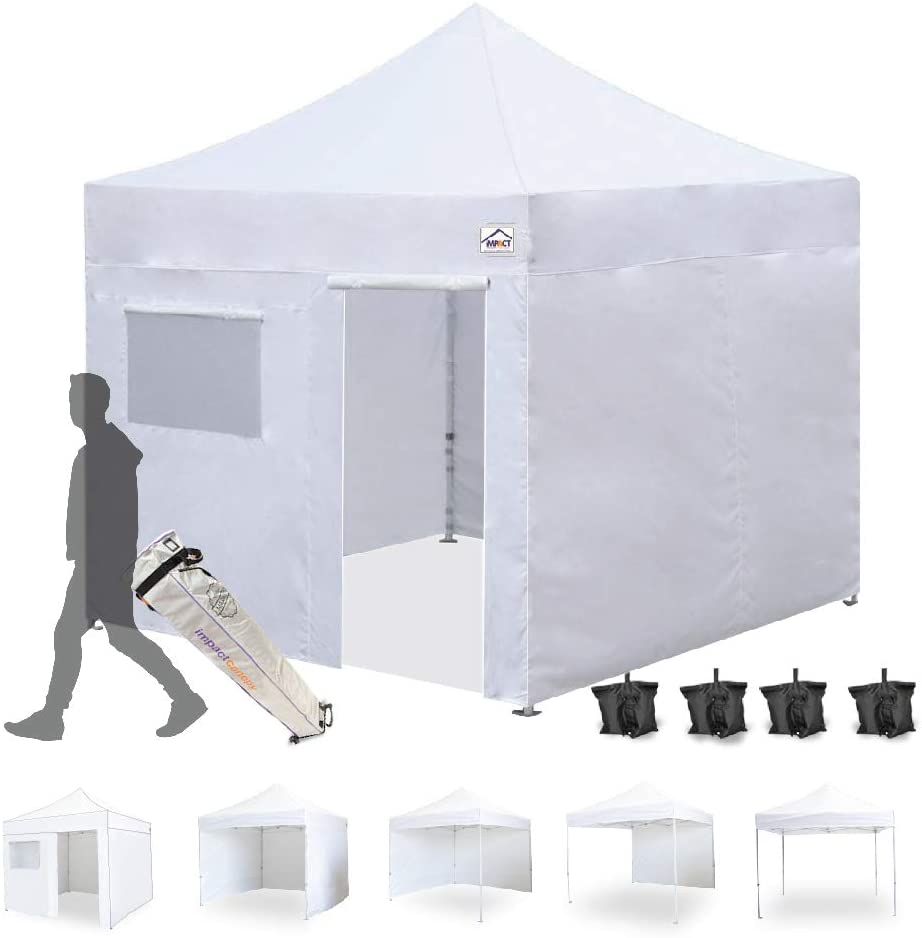 10 x 10 Canopy Kit, Includes 4 Sidewalls One with Door and Window, 4 Weight Bags, Spike Rope, Roller Bag, White