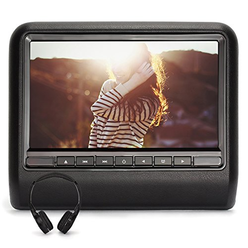 NAVISKAUTO 10.1 Inch LCD Wide Screen Car Headrest DVD Player Backseat Multimedia Monitor-Black (CH1005B+Y0101) (Car Seat Headrest Dvd Player)