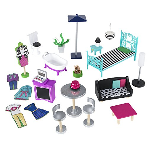 51yLOE6Q8hL - KidKraft So Chic Dollhouse with Furniture
