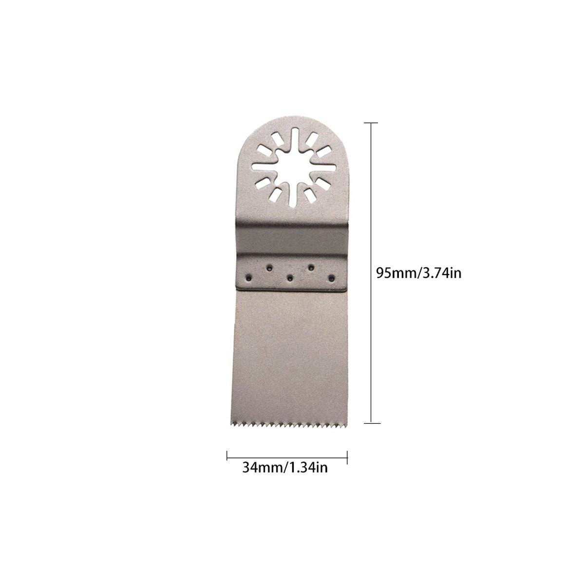 Funnyrunstore 1PCS 34MM Hojas de sierra multifuncionales Port/átil Oscilante Multi herramienta Durable Juego de cortador de carpinter/ía Accesorio de herramienta plata