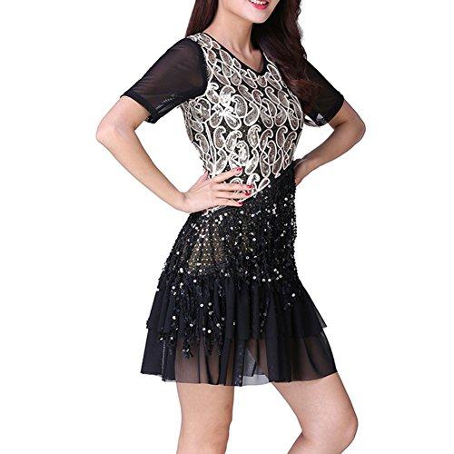 [Women Latin Dance Dress Wingbind Short Sleeve Tassel Dancewear Sequin Sexy Dance Party Performance Show Costume Clubwear] (Samba Costumes Uk)