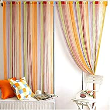 Norbi Window Door Room Divider Line String Curtain Tassel Scarf Valance (Muticolor)