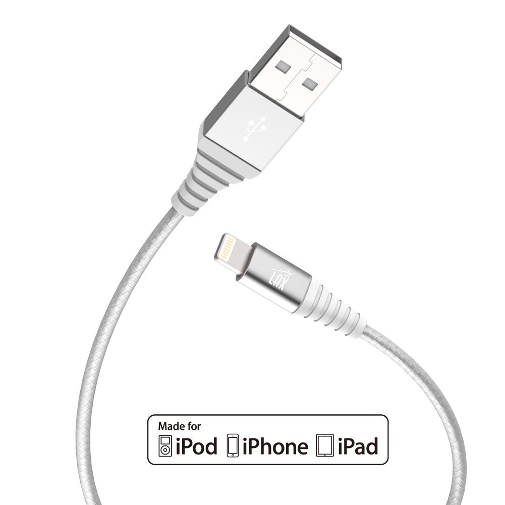 iPhone Charger, Apple Certified Braided 6ft Strong Lightning Cable - Lightning to USB Tough Charging Cord for iPhone X 8 8 Plus 7 7 Plus 6s 6 SE 5s, iPad, Pro, Air 2, Mini - Silver (6 Feet / 1.8m)