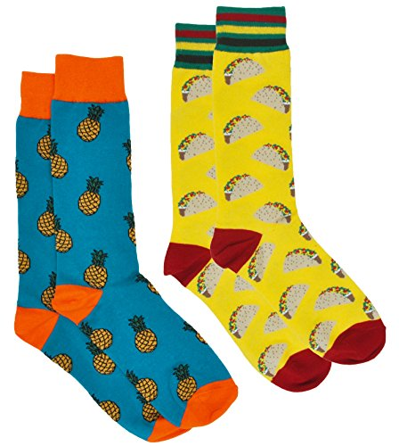 360 Threads Men's Novelty Socks - 2 Pair Set (Tacos Yellow & Pineapple) (The Real Meaning Of St Patrick Day)