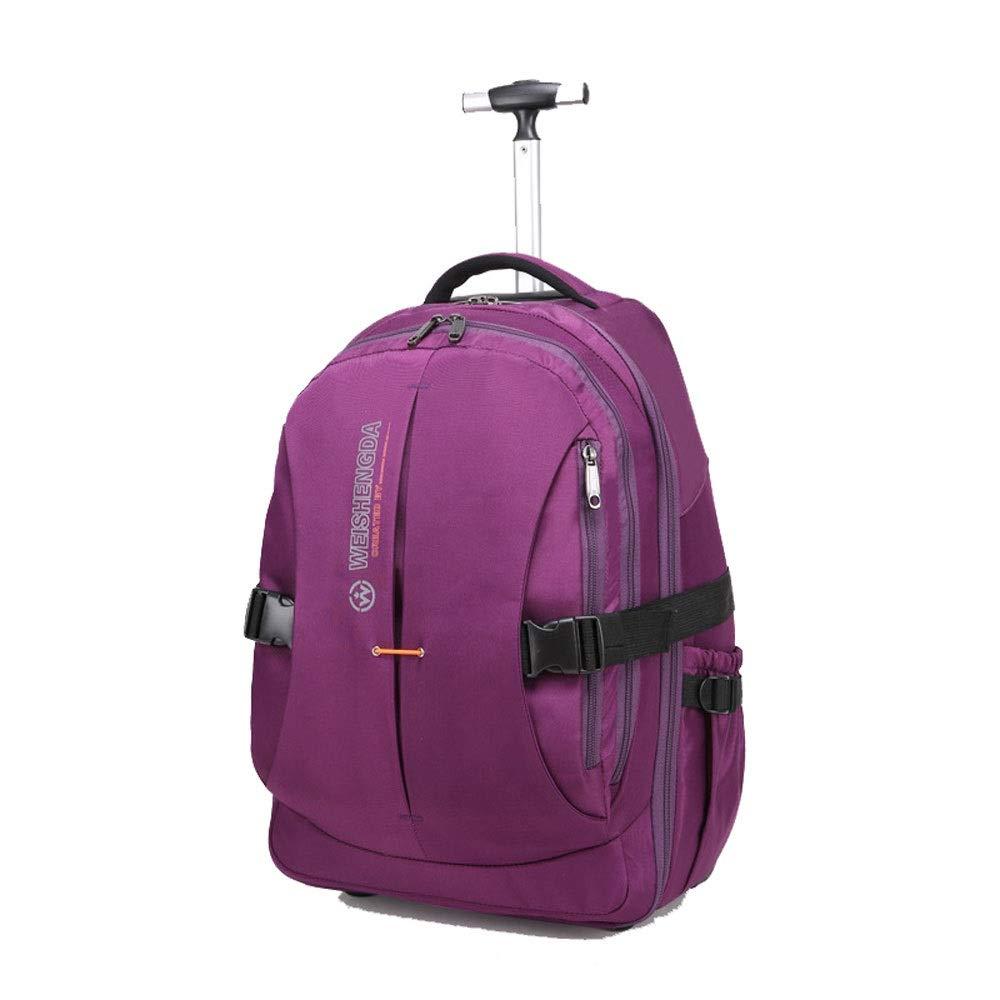 TLMYDD トラベルバッグバックパック搭乗学生トロリーバッグ荷物ポータブルレバーコンピュータケース トロリーバックパック (Color : Purple, Size : 51x21x37cm) B07SWWK2CW Purple 51x21x37cm