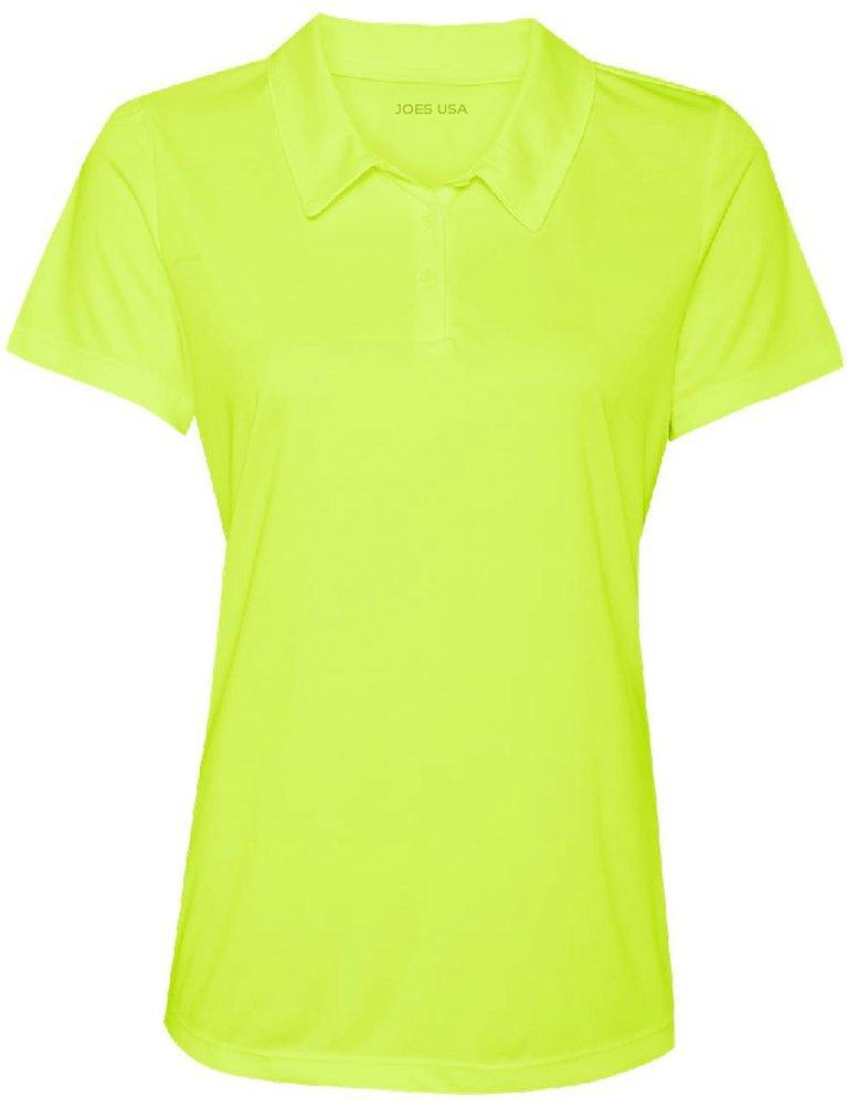 Women's Dri-Equip Golf Polo Shirts 3-Button Golf Polo-2XL-Bright Yellow by Joe's USA