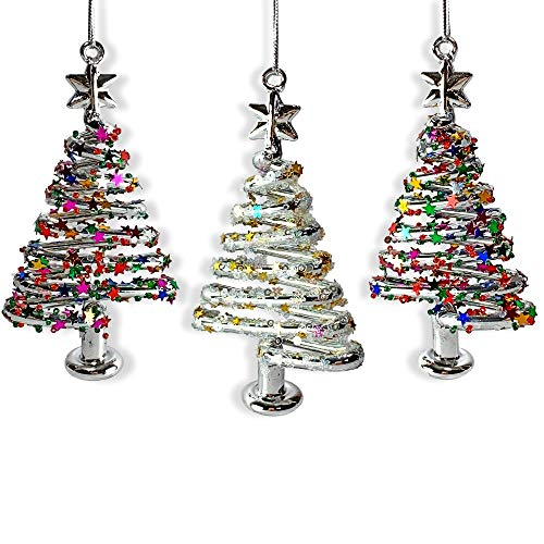 BANBERRY DESIGNS Glass Christmas Tree Ornaments - Set of 3 Xmas Trees with Stars & Snowflake Glitter - Glass Christmas Ornament Sets - Glittery Glass - Glass Design Ornament Christmas
