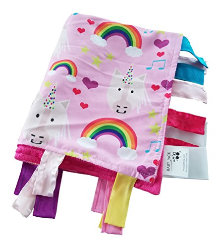 Educational Learning Lovey Ribbon Tag Security Blankets (Unicorn)