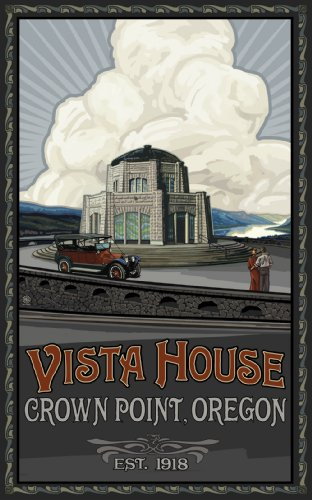 Northwest Art Mall Vista House with Car Crown Point Oregon