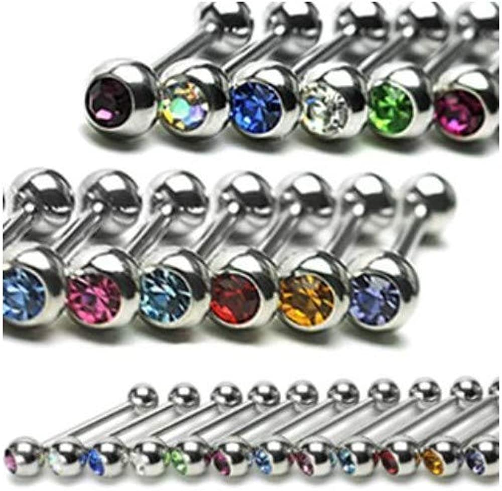 Young Purple yati/_gj 1 Pcs Tanzanite CZ Gem Straight Barbell Tongue Ring Stainless Surgical Steel Piercing 16g
