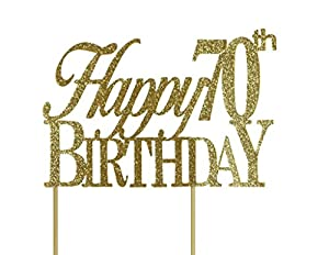 gold happy 70th birthday cake topper $ 13 62 free shipping on orders