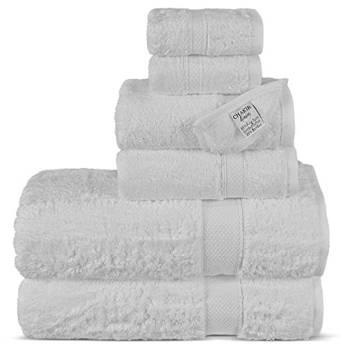 Chakir Turkish Linens Luxury Ultra Soft Bamboo 6-Piece Towel Set - Soft, Absorbent and Eco-Friendly (White)