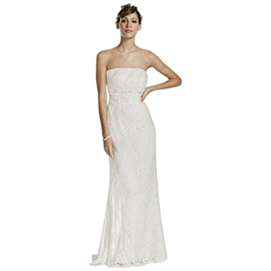 ec38d6bd4c David s Bridal Allover Beaded Lace Sheath Gown with Empire Waist Style  S8551 at Amazon Women s Clothing store  Dresses