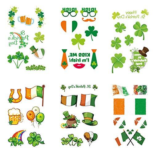 Inifty 6 Sheets St.Patrick's Day Temporary Tattoos with Irish Flag, Shamrocks, leprechaun hats Patterns for Party Favors (6 Sheet St Patrick's Day Tattoos) - Irish Flag Leprechaun